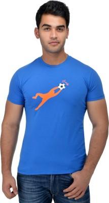 Surly Printed Men's Round Neck Blue, Orange T-Shirt