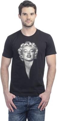 Marilyn Monroe Printed Men's Round Neck Black T-Shirt