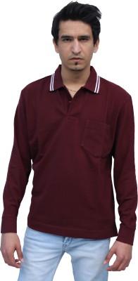Romano Solid Men's Polo Neck Maroon T-Shirt