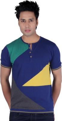 Kalt Geometric Print Men's Henley Multicolor T-Shirt