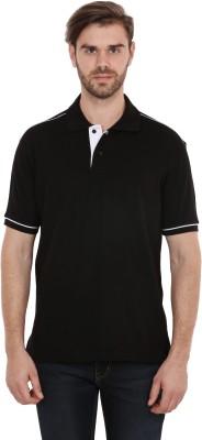 CNMN Solid Men's Polo Neck Black T-Shirt