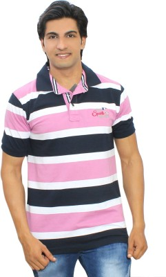 Thread Craft Striped Men's Polo Neck Pink T-Shirt