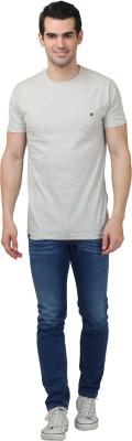 HASH TAGG Self Design Men's Round Neck Beige T-Shirt