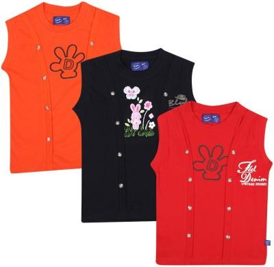 SPN Garments Printed Girl,s Round Neck Red, Black, Orange T-Shirt