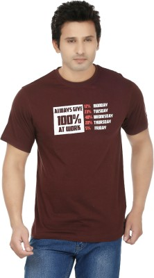 Fizzaro Printed Men's Round Neck Brown T-Shirt