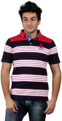 Numero Uno Striped Men's Polo Neck White, Blue, Red T-Shirt
