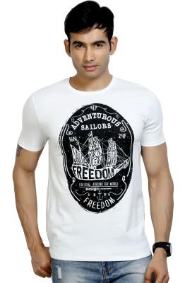 Design Classics Printed Men's Round Neck White T-Shirt