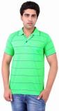 Xensa Striped Men's Polo Neck Green T-Sh...