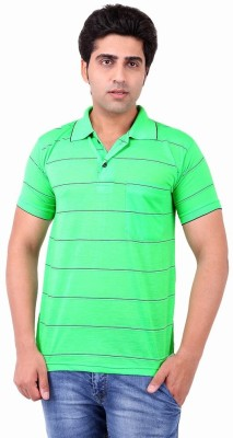 Xensa Striped Men's Polo Neck Green T-Shirt