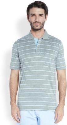 ColorPlus Striped Men's Polo Neck Light Blue T-Shirt