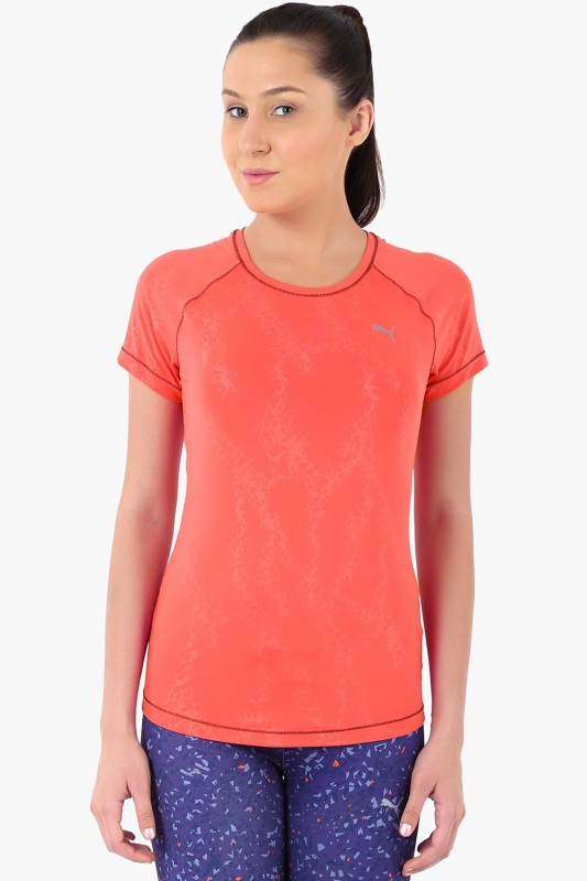 Puma Solid Women's Round Neck Orange T-Shirt