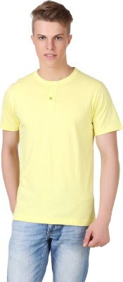 Aventura Outfitters Solid Men's Henley Yellow T-Shirt