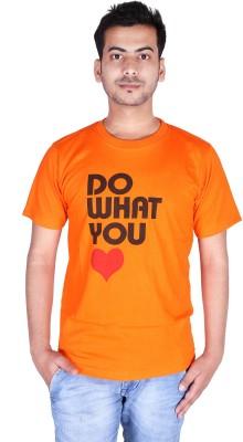 neuf Printed Men's Round Neck Orange T-Shirt
