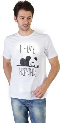 RICK AND MASCH Printed Men's Round Neck White T-Shirt