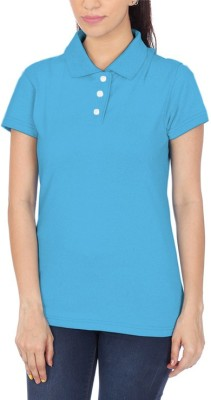 POLUO Solid Women's Polo Blue T-Shirt