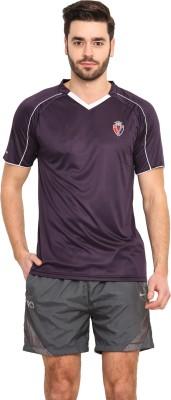 Mode Vetements Solid Men's V-neck Purple T-Shirt