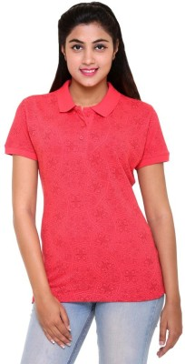 Colors & Blends Printed Women's Polo Neck Pink T-Shirt