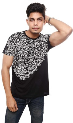 Viral Lifestyle Floral Print Men's Round Neck Black T-Shirt