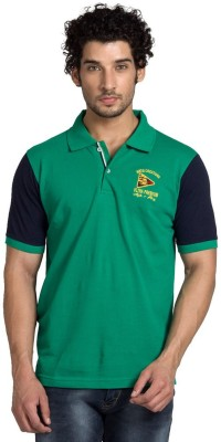 YOO Solid Men's Polo Neck Dark Green T-Shirt