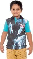 Menthol Boys Printed T Shirt(Blue, Pack of 1)