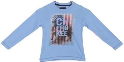 Cherokee Printed Boy's Round Neck Blue T-Shirt