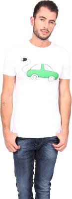 Geekly Printed Men,s Round Neck White T-Shirt