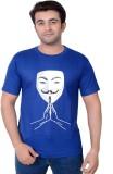 Azoth Graphic Print Men's Round Neck Blu...