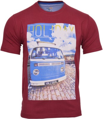 Humtees Printed Men's Round Neck Maroon T-Shirt