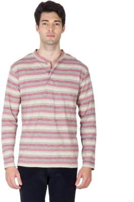 Hypernation Striped Men's Henley Red, Grey T-Shirt
