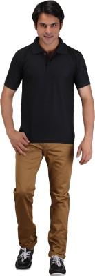 Aqua Solid Men's Polo Neck Black T-Shirt