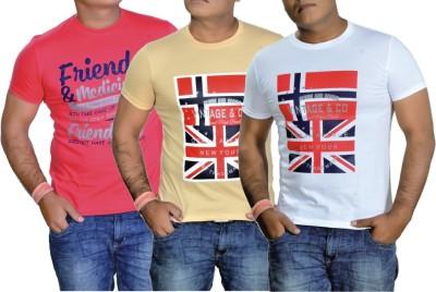 MaximBlue Printed Men,s, Boy's Round Neck Red, White, White T-Shirt