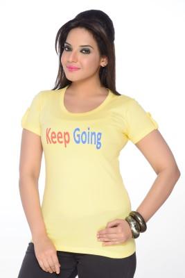 No Problem Printed Women's Round Neck Yellow T-Shirt