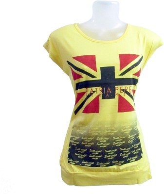 Revinfashions Solid Girl,s Round Neck Yellow T-Shirt