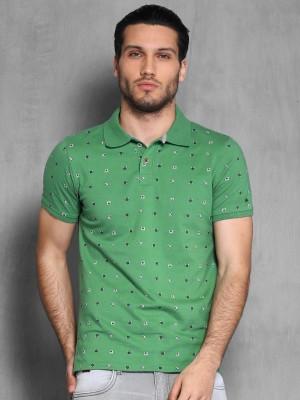 WROGN Printed Men's Polo Neck Green T-Shirt