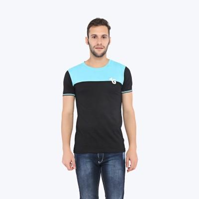 Triplegrass Applique Men's Round Neck Blue T-Shirt