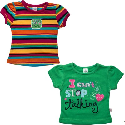 Toffy House Striped Baby Girl's Round Neck Green, Multicolor T-Shirt