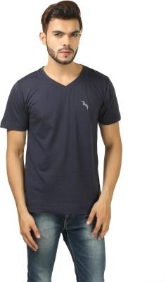 BrownBird Solid Men's V-neck Blue T-Shirt