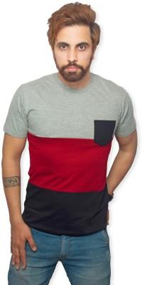 Purple Leaf Solid Men's Round Neck Multicolor T-Shirt