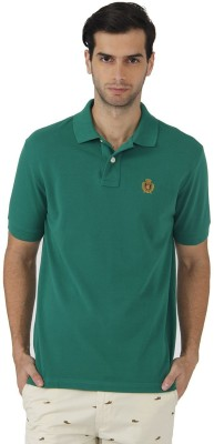 Fahrenheit Solid Men's Polo Neck Green T-Shirt