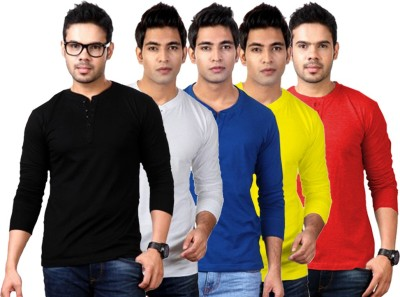 ILBIES Solid Men's Henley Multicolor T-Shirt