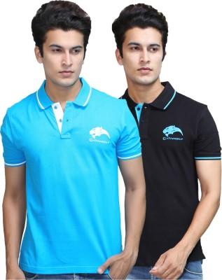 CATAMONT Solid Men's Polo Black, Blue T-Shirt
