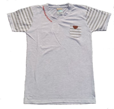 V-Club Solid Men's V-neck Grey T-Shirt