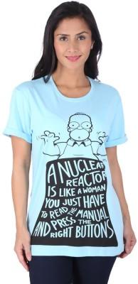 Planet Superheroes Graphic Print Women's Round Neck Light Blue T-Shirt