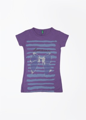United Colors of Benetton Printed Girl's Round Neck Purple T-Shirt