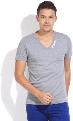 French Connection Solid Men's V-neck Grey T-Shirt