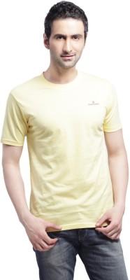 Cross Creek Solid Men's Round Neck Yellow T-Shirt