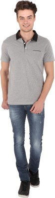 Caricature Solid Men's Polo Neck Grey T-Shirt