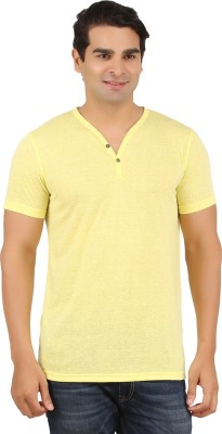 Orange and Orchid Solid Men's Henley Yellow T-Shirt