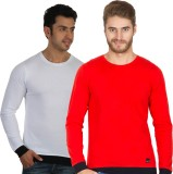 Rigo Solid Men's Round Neck White, Red T...