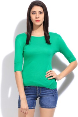 Flying Machine Solid Women's Round Neck Green T-shirt